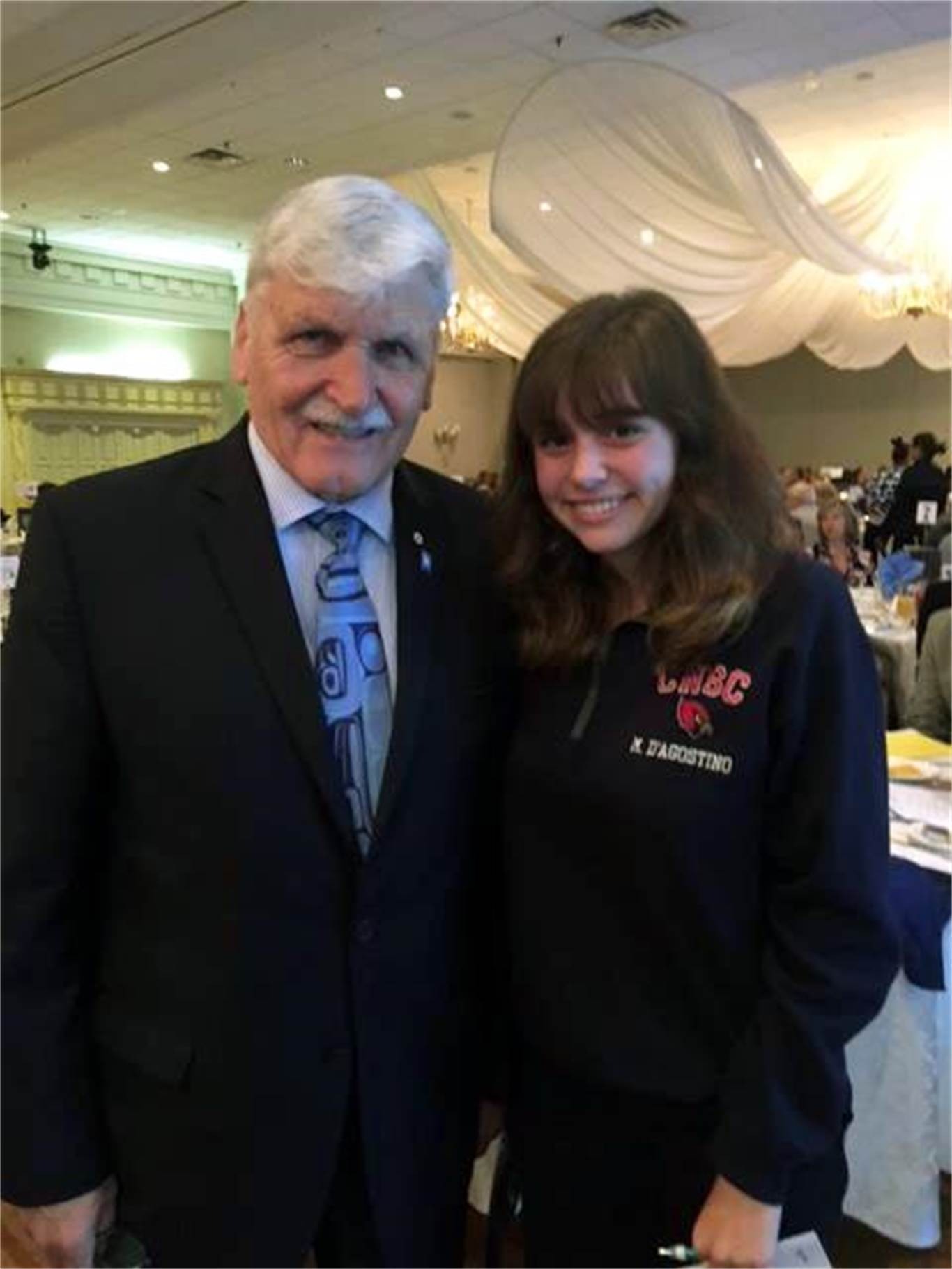 Student Trustee and Student Council President from Cardinal Newman Catholic Secondary School Mikayla D'Agostino with Lieutenant-General, the Honourable Roméo Dallaire (Ret'd).